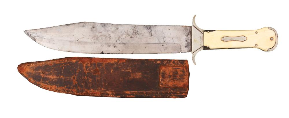 HUGE ENGLISH CAST STEEL BOWIE KNIFE.