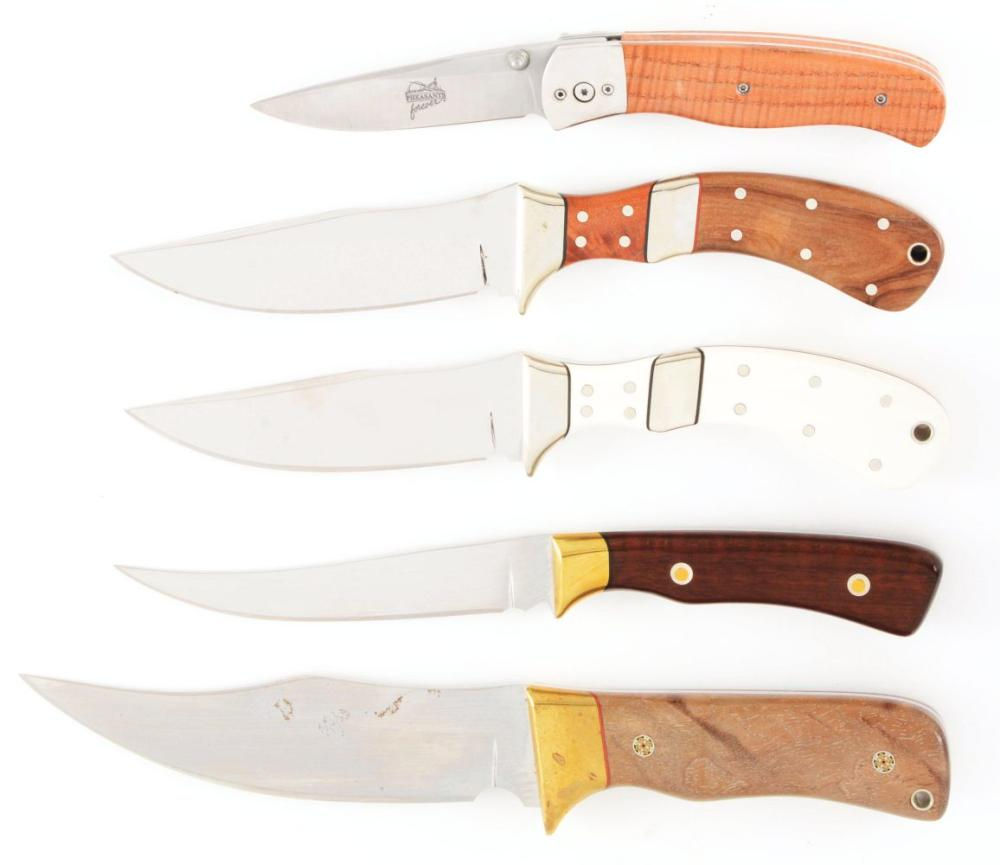 LOT OF 5: MIKE THOUROT MIXED CUSTOM KNIVES.