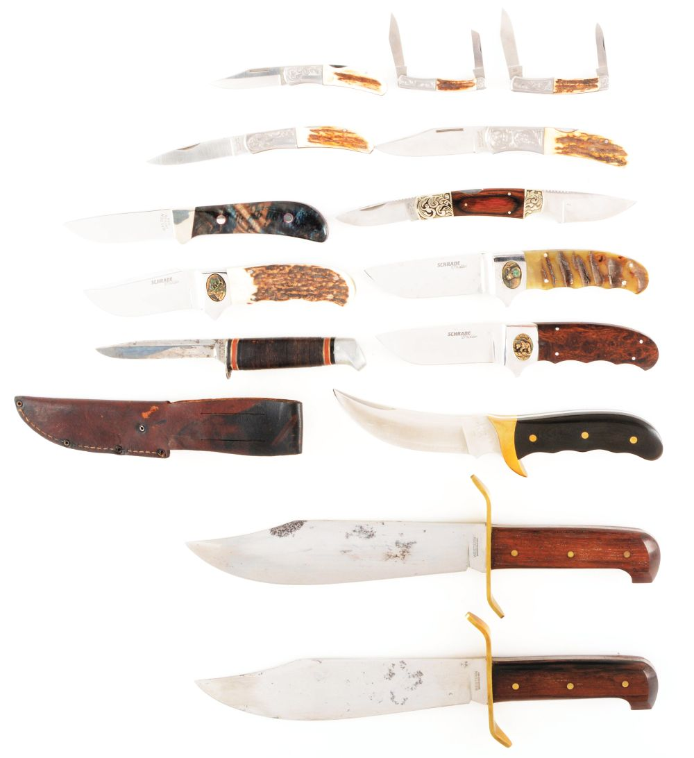 LOT OF 14: MIXED PRODUCTION KNIVES.