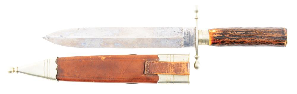 A Fine English Presentation Spearpoint Bowie Knife Presented to John Hood 1880.
