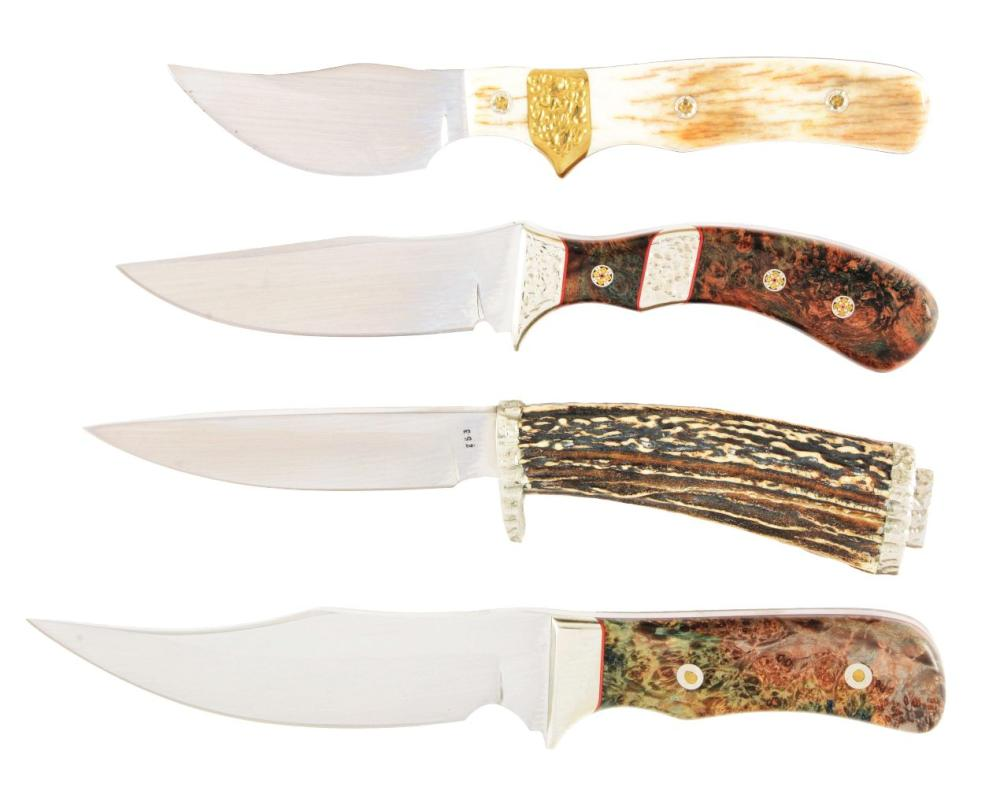 LOT OF 4: MIKE THOUROT CUSTOM HUNTING AND BOWIE KNIVES.