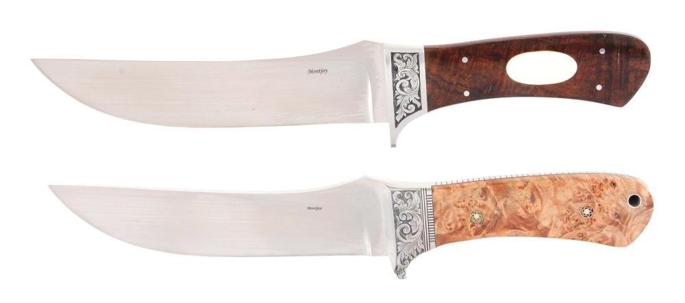 LOT OF 2: LARGE CLAUDE MONTJOY CUSTOM SKINNING KNIVES.