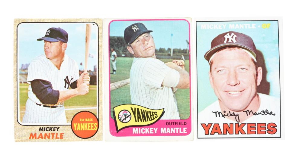 Lot Of 3 1960s Topps Mickey Mantle Baseball Cards