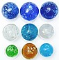 Lot of 9: Mica Marbles.