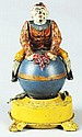 Clown on Globe Mechanical Bank.