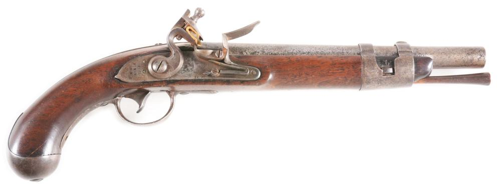 (A) RARE MODEL 1817 US MARTIAL FLINTLOCK PISTOL BY SPRINGFIELD ARMORY DATED 1818.