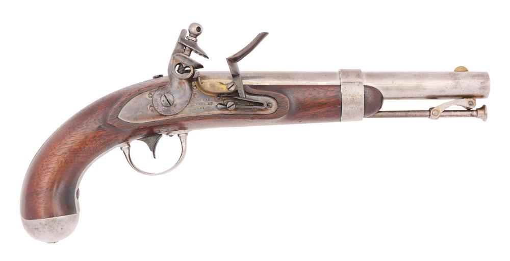 (A) A FINE US 1836 FLINTLOCK SINGLE SHOT MARTIAL PISTOL BY A. WATERS, MILBURY MASS LOCK DATED 1841.