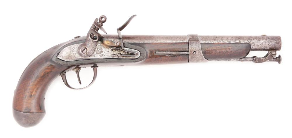 (A) UNKNOWN POSSIBLY EXPERIMENTAL US SINGLE SHOT FLINTLOCK MARTIAL PISTOL OF 1819 CONFIGURATION.
