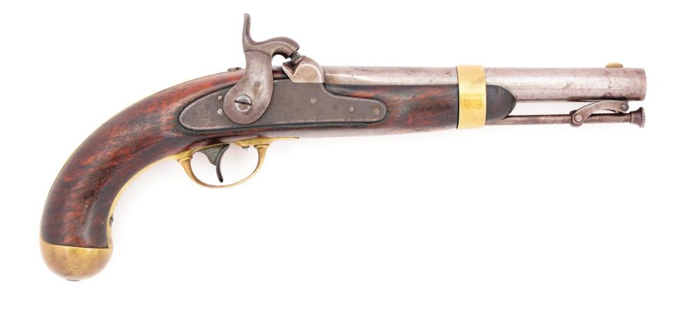(A) A VERY RARE US MODEL 1842 SINGLE SHOT PERCUSSION MARTIAL PISTOL BY HENRY ASTON, DATED 1851, WITH NAVAL ANCHOR ON BARREL INDICATING NAVAL INSPECTION.
