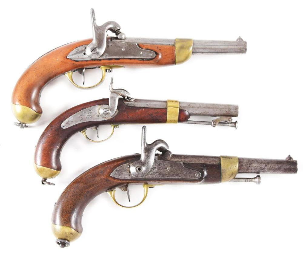 (A) LOT OF THREE: THREE FRENCH PERCUSSION PISTOLS, ONE MODEL 1837 MARINE PISTOL AND TWO MODEL 1822 T-BIS PISTOLS.