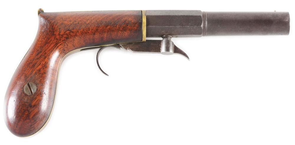(A) W. ASHTON UNDERHAMMER SINGLE SHOT PERCUSSION BOOT PISTOL.