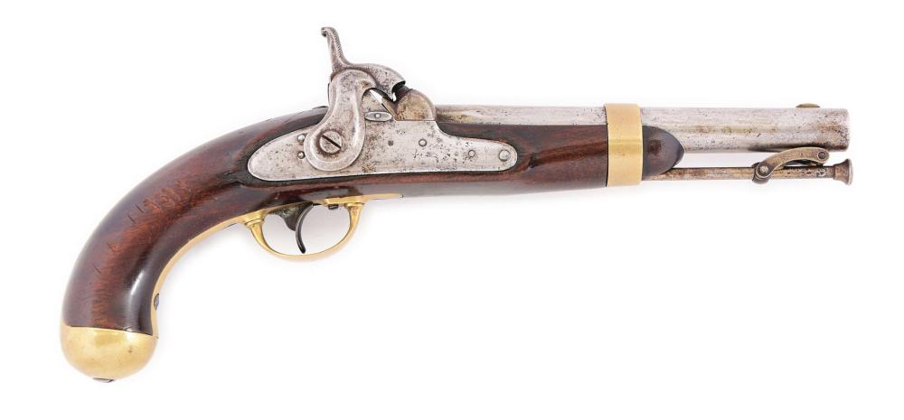 (A) A RARE US MODEL 1842 SINGLE SHOT MARTIAL PISTOL WITH ARSENAL INSTALLED AUTOMATIC PRIMER MECHANISM.