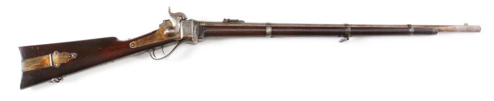 (A) SHARPS DOUBLE SET TRIGGER MODEL 1859 BERDAN SHARPSHOOTER PERCUSSION RIFLE.
