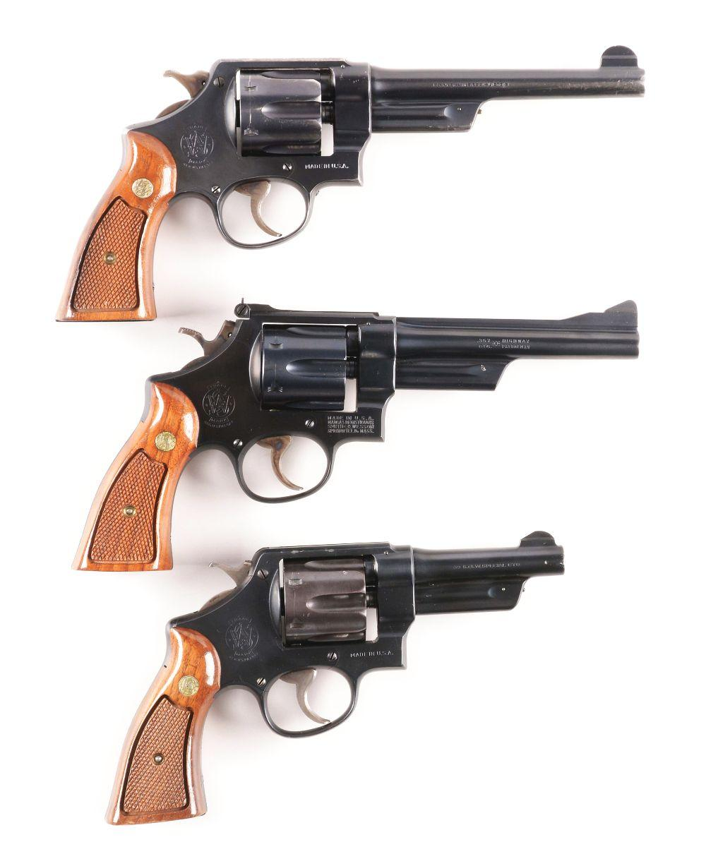 (M) LOT OF 3: COLLECTIBLE SMITH & WESSON N-FRAME DOUBLE ACTION REVOLVERS.