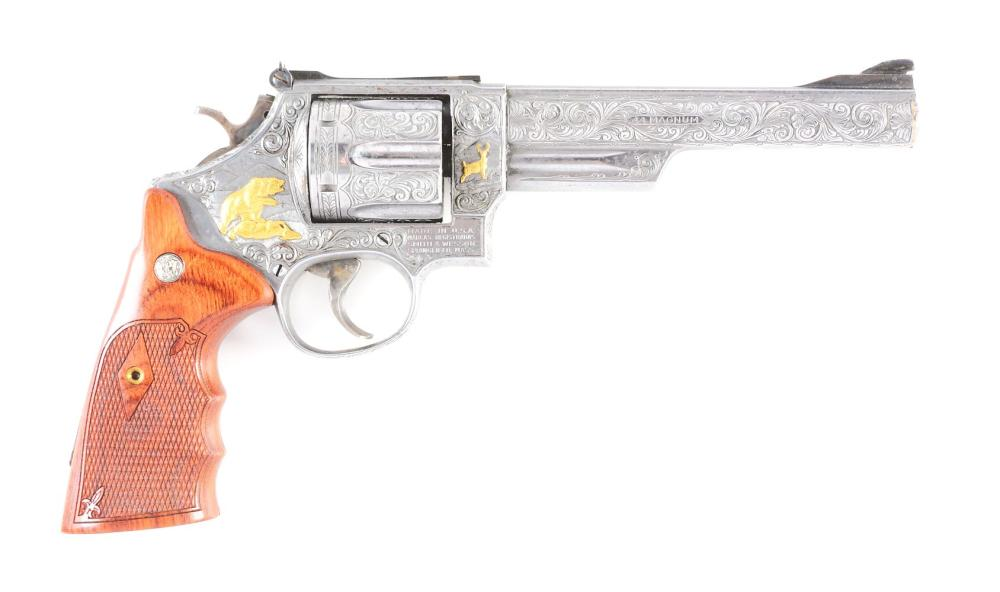 (M) ENGRAVED & GOLD INLAID SMITH & WESSON 29-2 DOUBLE ACTION REVOLVER (1975-76).