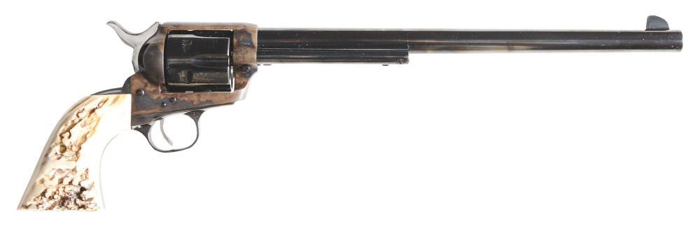 (C) COLT 2ND GENERATION BUNTLINE SINGLE ACTION ARMY REVOLVER WITH MEXICAN HOLSTER AND BELT (1958).