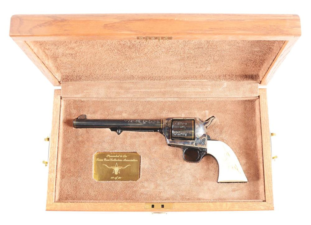 (M) CASED TGCA FACTORY ENGRAVED COLT SINGLE ACTION ARMY WITH CARVED IVORY GRIPS.