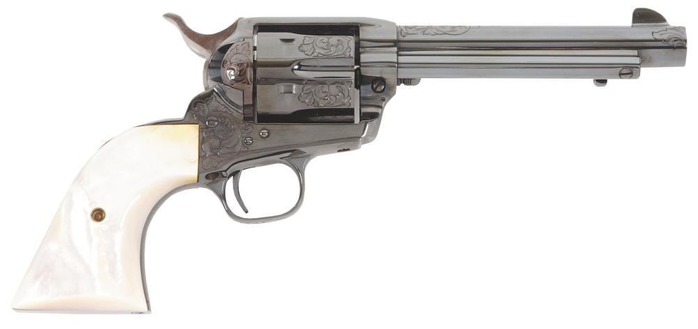 (M) BEAUTIFUL FACTORY ENGRAVED COLT SINGLE ACTION ARMY THIRD GENERATION REVOLVER IN BOX