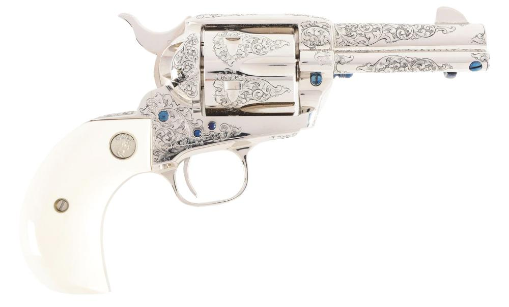 (M) BOXED COLT CUSTOM SHOP FACTORY B ENGRAVED SINGLE ACTION ARMY REVOLVER.