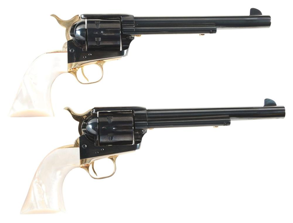 (C) PAIR OF COLT SINGLE ACTION ARMY 125TH ANNIVERSARY REVOLVERS WITH REAL MOTHER OF PEARL GRIPS (1961).