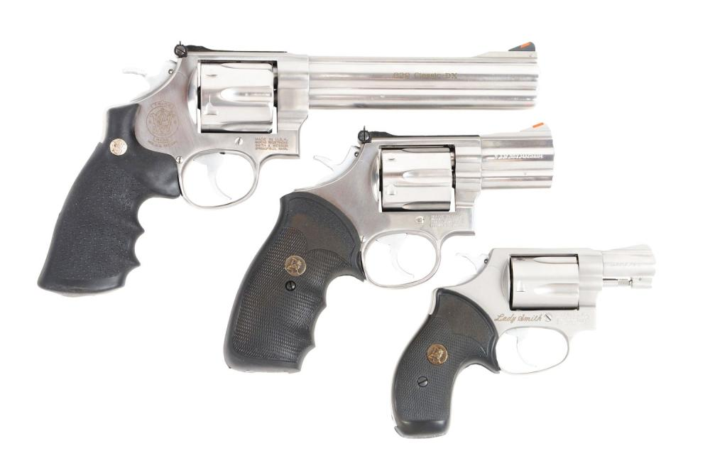 (M) LOT OF THREE: THREE SMITH AND WESSON REVOLVERS.