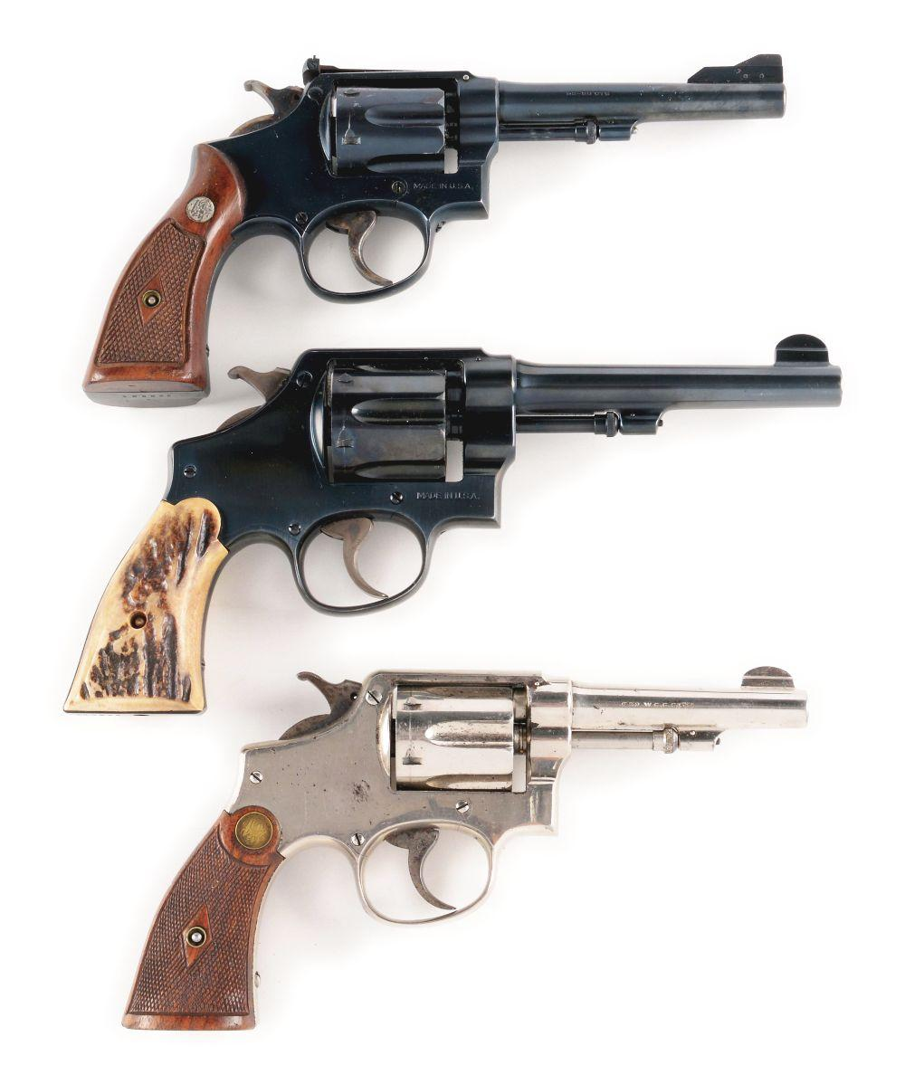 (C) LOT OF 3: SMITH & WESSON REVOLVERS.