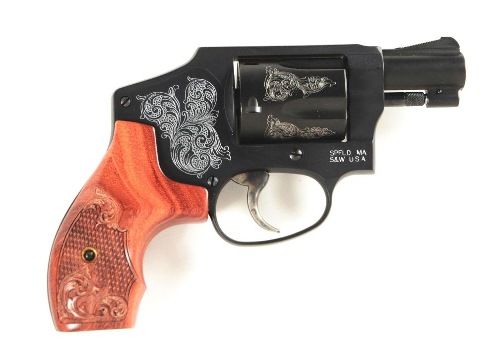 (M) CASED AND ENGRAVED SMITH & WESSON MODEL 442 DOUBLE ACTION ONLY REVOLVER.