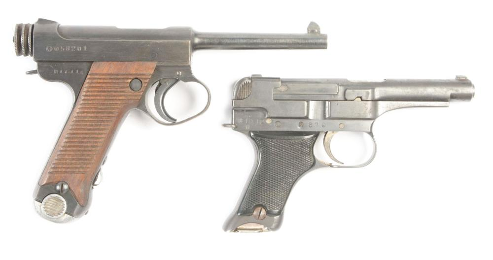 (C) LOT OF TWO: TWO JAPANESE WWII HANDGUNS: TYPE 14 17.11 DATE & TYPE 94 10.12 DATE.