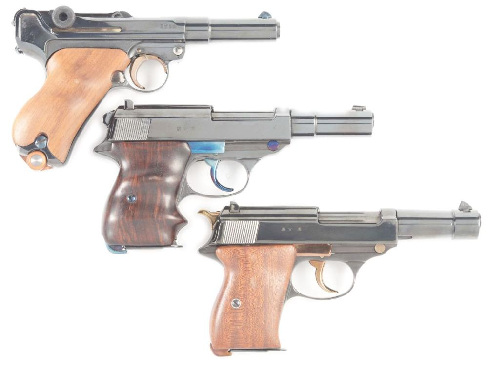 (C) LOT OF THREE: CUSTOM LUGER AND TWO P-38 SEMI-AUTOMATIC PISTOLS.