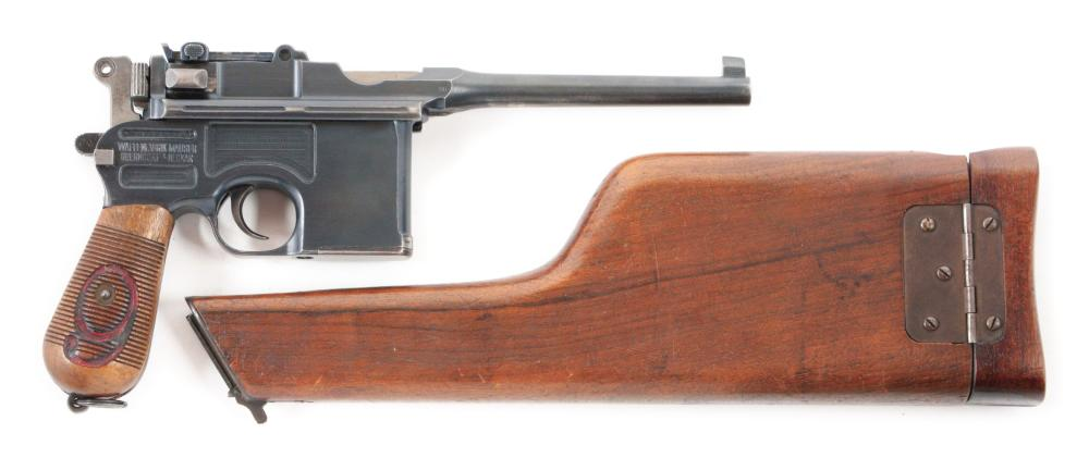 (C) WORLD WAR I GERMAN MAUSER RED 9 C96 BROOMHANDLE PISTOL WITH SHOULDER STOCK ASSEMBLY.