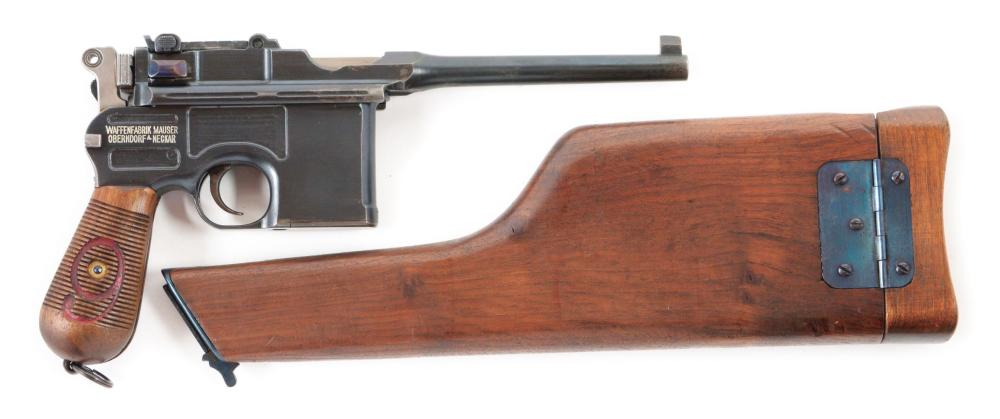 (C) MAUSER C-96 RED 9 BROOMHANDLE SEMI AUTOMATIC PISTOL WITH HOLSTER.