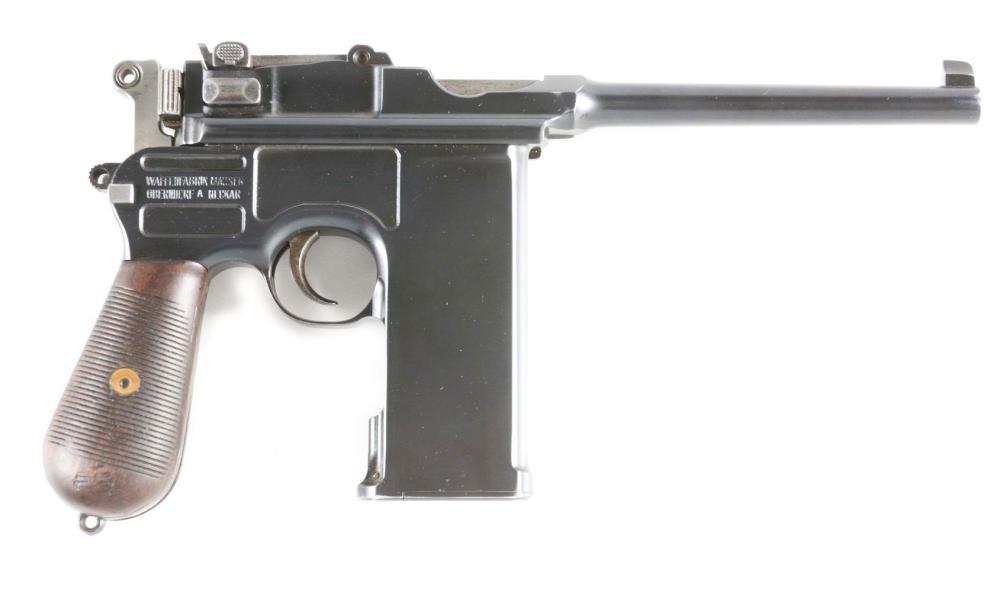 (C) CUSTOM 20 SHOT C-96 BROOMHANDLE MAUSER SEMI-AUTOMATIC PISTOL.