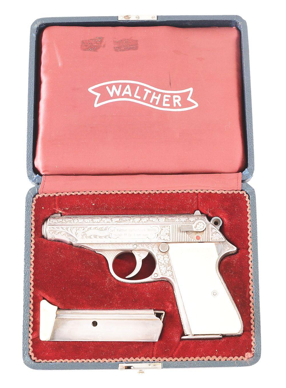 (C) FACTORY ENGRAVED & CASED WALTHER MODEL PP SEMI-AUTOMATIC PISTOL.