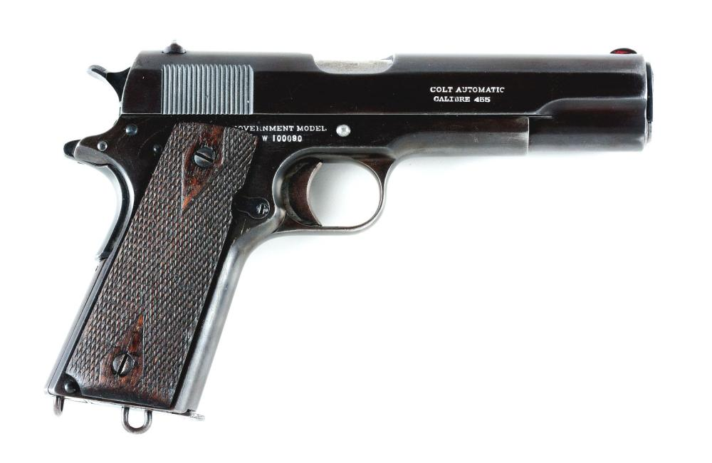 (C) SCARCE COLT W SERIES GOVERNMENT MODEL BRITISH CONTRACT .455 ELEY 1918 WITH FACTORY LETTER.