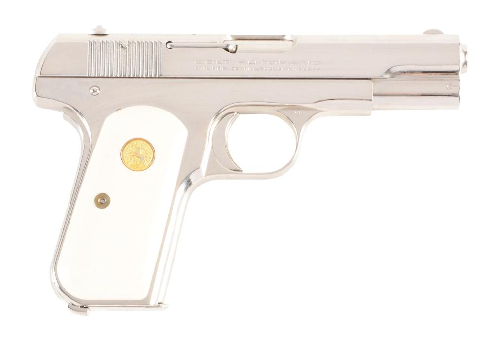 (C) NICKEL PLATED COLT MODEL M 1903 SEMI-AUTOMATIC PISTOL WITH IVORIES (1921).