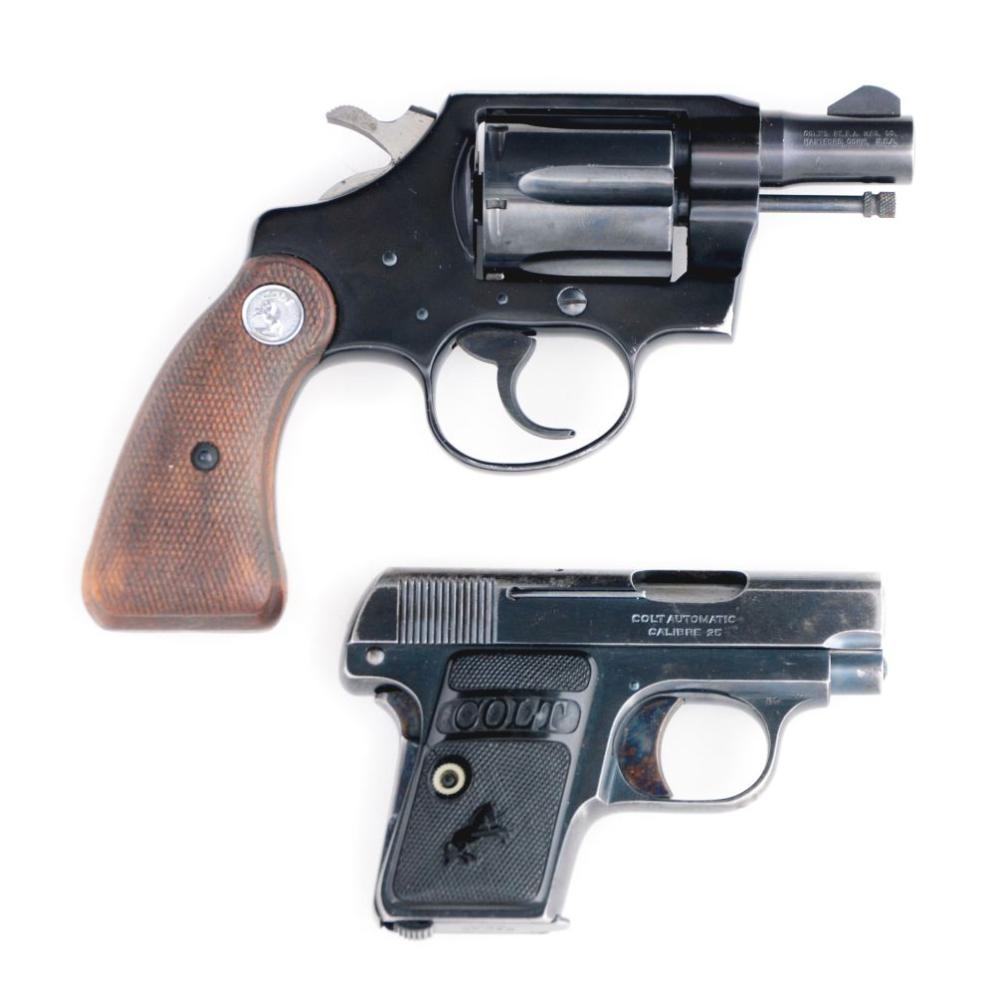 (C) TWO FINE COLT FIREARMS, ONE 1908 AND ONE COBRA.