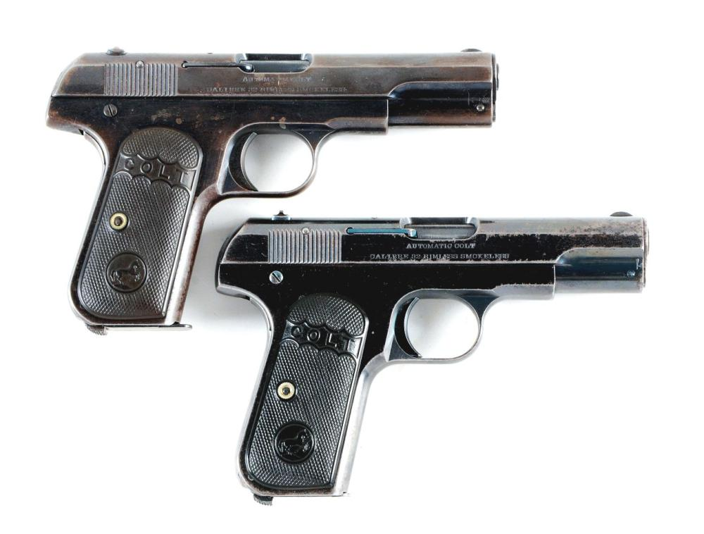 (C) LOT OF TWO: TWO EARLY COLT MODEL 1903 SEMI-AUTOMATIC PISTOLS (1908-1910).