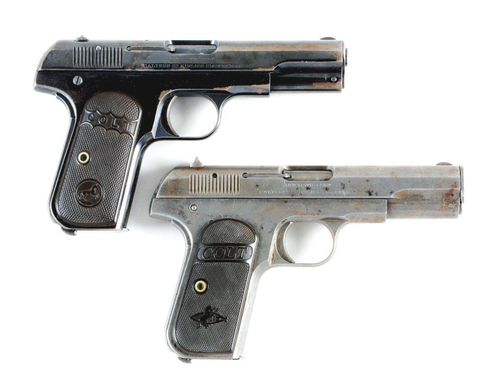 (C) LOT OF 2: COLT 1903 2ND YEAR PRODUCTION (1904) SEMI-AUTOMATIC PISTOLS.