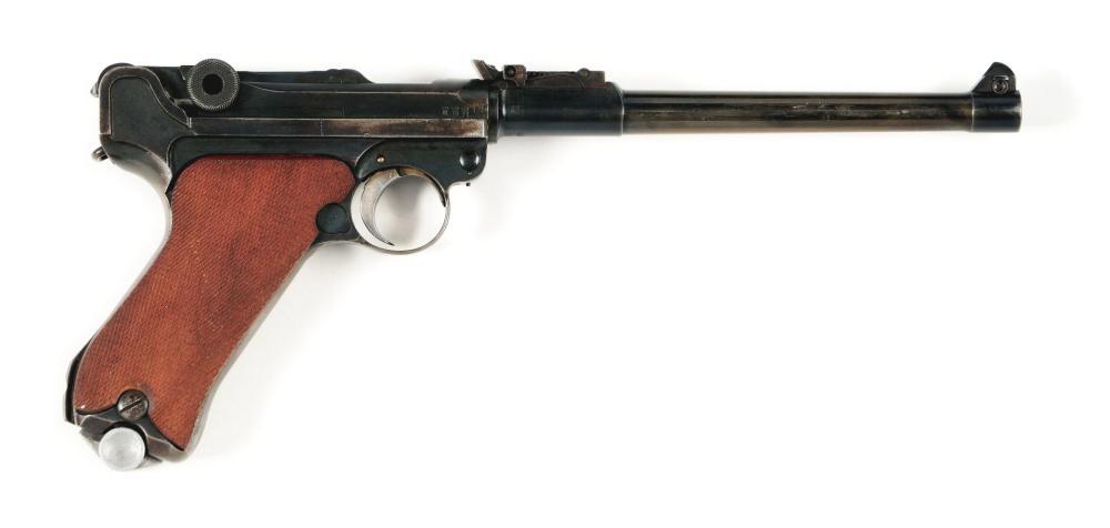 (C) 1914 ERFURT LP.08 ARTILLERY LUGER SEMI-AUTOMATIC PISTOL.
