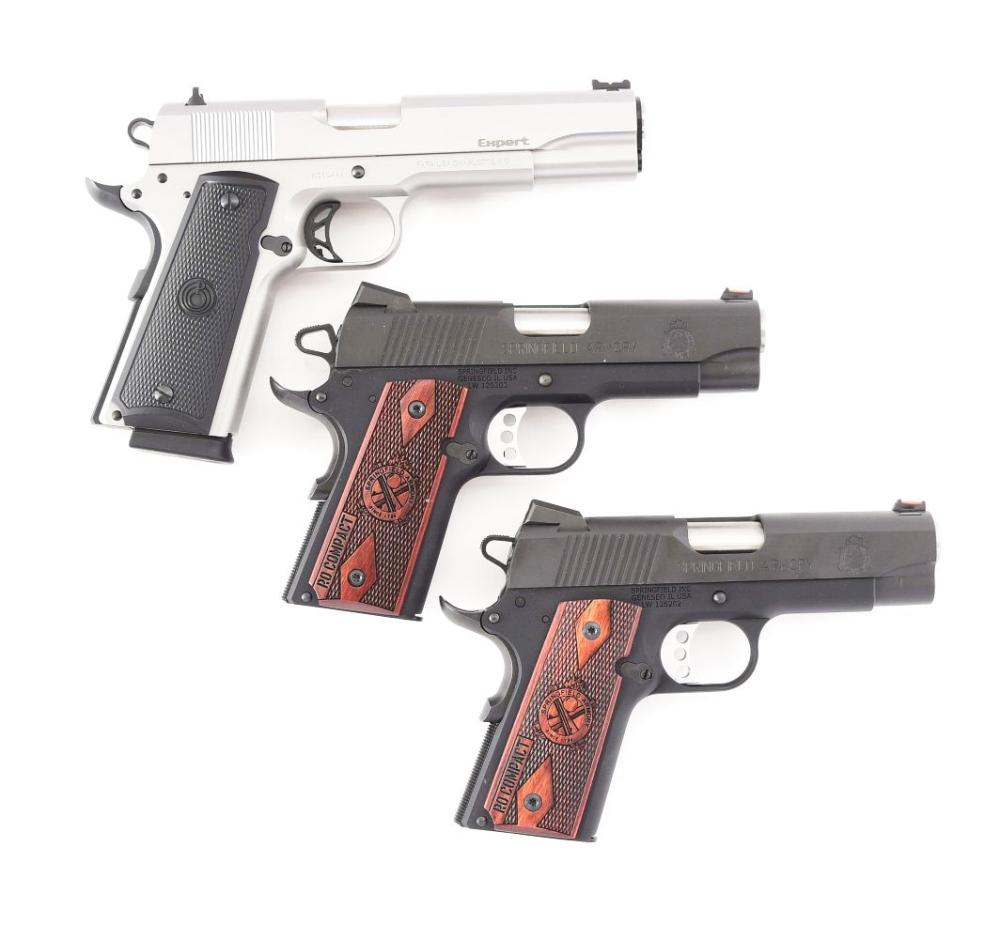 (M) LOT OF THREE: THREE SEMI AUTOMATIC PISTOLS FROM PARA ORDNANCE AND SPRINGFIELD ARMORY.