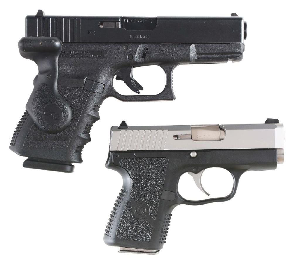 (M) LOT OF 2: GENERATION 3 GLOCK 32 AND KAHR CM9 WITH ACCESSORIES AND BOX.