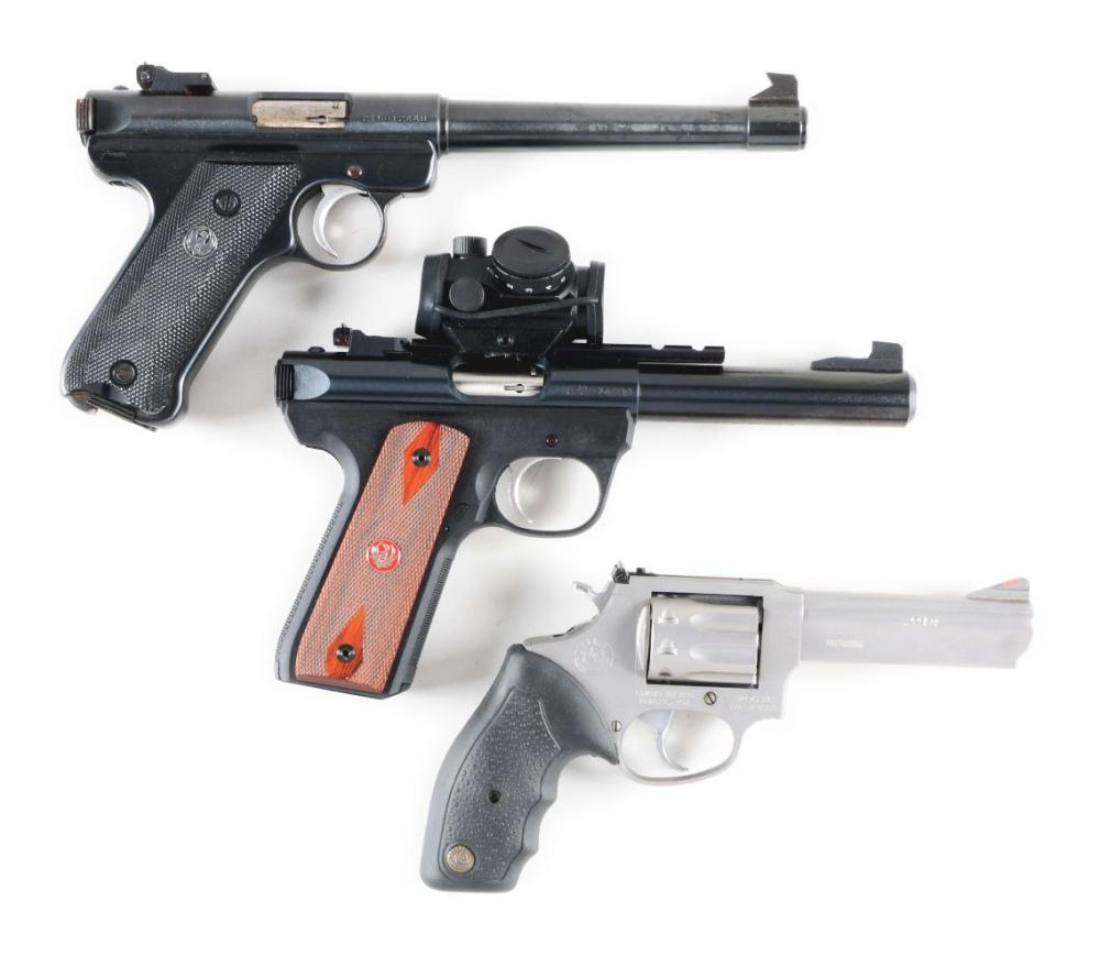 (M) LOT OF THREE: THREE HIGH QUALITY .22 CALIBER FIREARMS, FROM TAURUS AND RUGER.