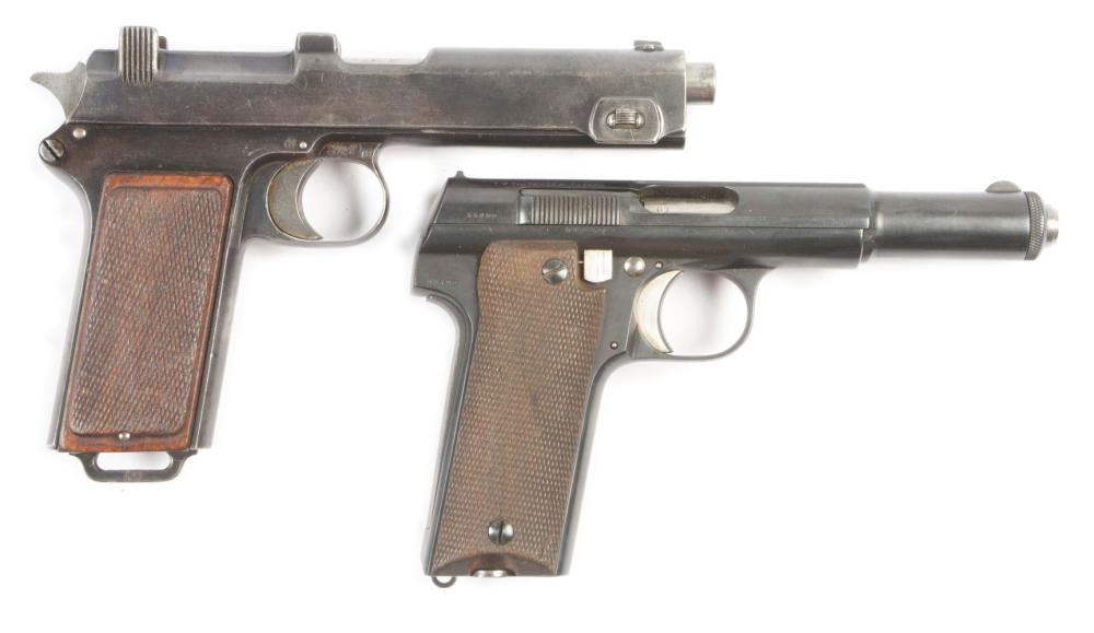 (C) LOT OF TWO: STEYR-HAHN M1912 AND ASTRA 600/43 SEMI-AUTOMATIC PISTOLS.