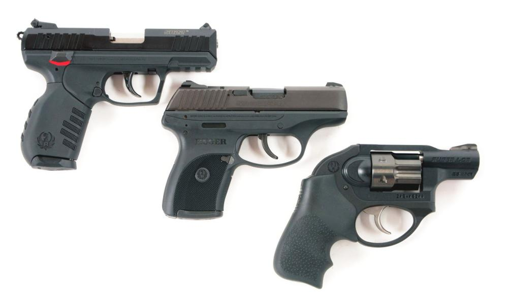 (M) LOT OF THREE: COMPLETE IN BOX RUGER SR22P, LC-380 AND LCR HANDGUNS.