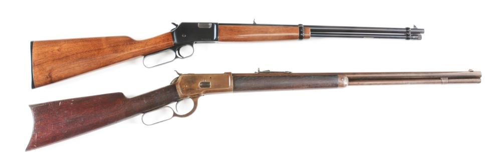(M+A) LOT OF 2: BROWNING AND WINCHESTER LEVER ACTION RIFLES.