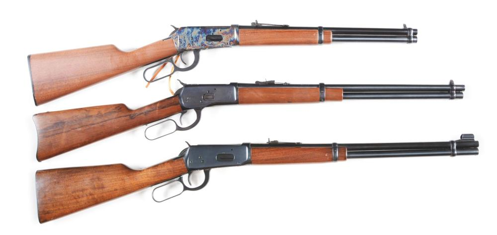 (C) LOT OF 3: WINCHESTER AND ROSSI LEVER ACTION CARBINES.