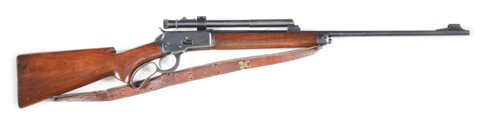 (C) WINCHESTER 65 LEVER ACTION RIFLE WITH SCOPE.