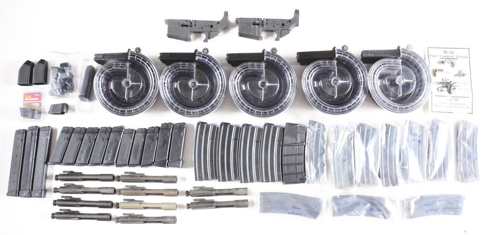 (M) A BUILDER'S DREAM LOT OF ACCESSORIES, MAGAZINES, AND ASSORTED PARTS, INCLUDING TWO STRIPPED LOWERS FROM DPMS.
