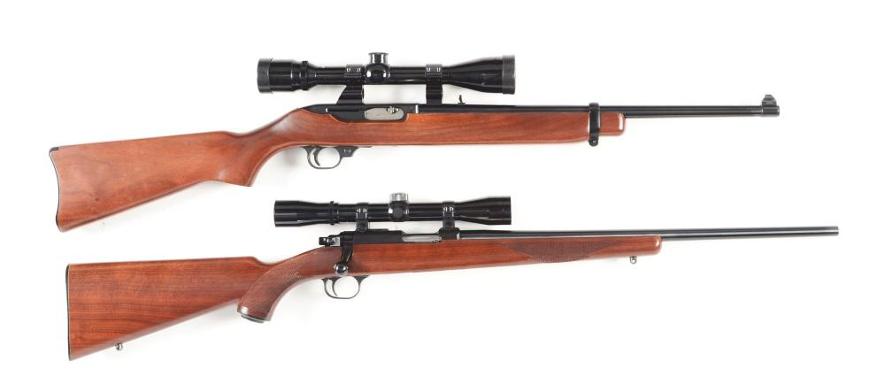 (M) LOT OF 2: RUGER SEMI-AUTOMATIC AND BOLT ACTION RIFLES.