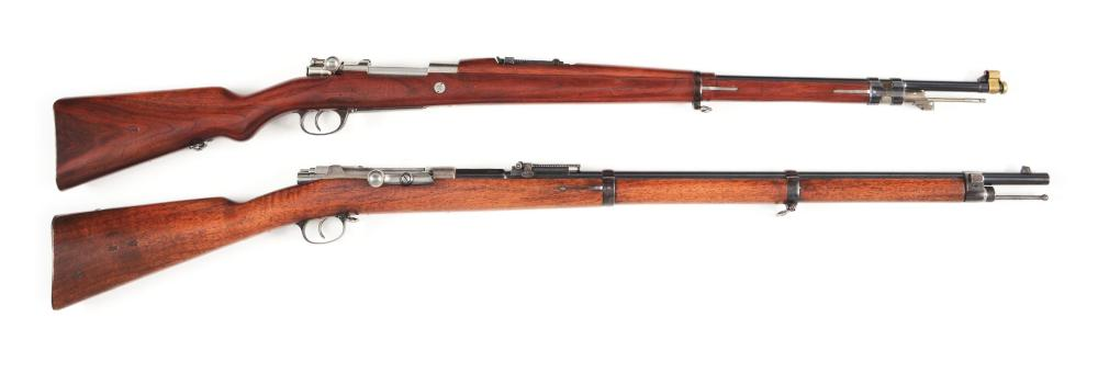 (C+A) LOT OF 2: MAUSER STYLE MILITARY RIFLES - DWM 1909 ARGENTINE AND AMBERG 71/84.